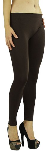 Footless Stretchy Legging Tights Pants Ankle Length 31' Inches Long - Brown (Tights Leggings Footless Stretchy)