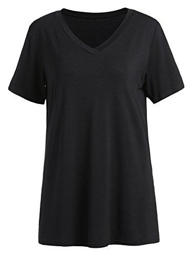 Floerns Women's V Neck Short Sleeve Casual T-shirt Large Black