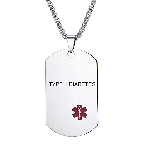 - LMXXV Type 1 Diabetes Military Medical Alert ID Metal Stainless Steel Dog Tag Pendant Necklace for Men,Free Chain 24