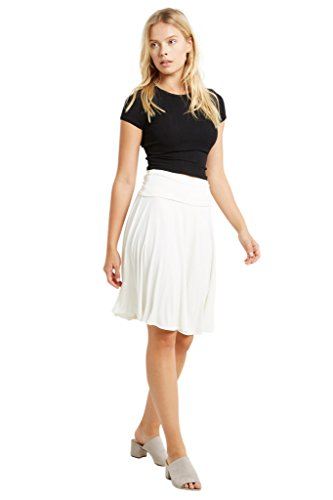 Poshsquare Women's Fold Over High Waist Comfy Stretch Rayon Spandex Knee Length Skirt USA White S