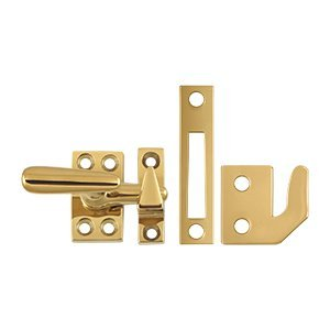 Casement Brass Window (Deltana CF066 Small 4 Piece Solid Brass Window Casement Fastener, Lifetime Polished Brass)
