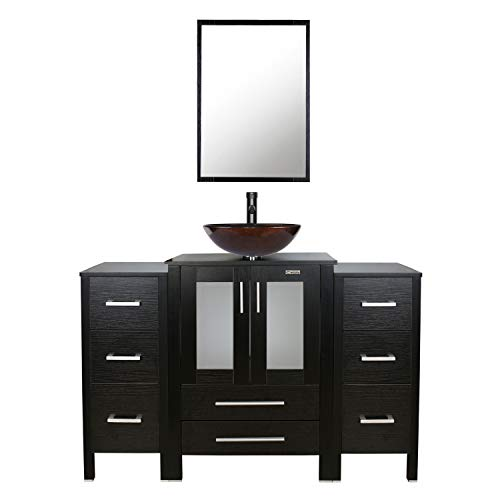eclife 48'' Bathroom Vanity Sink Combo W/Black Small Side Cabinet Round Tempered Glass Vessel Sink & 1.5 GPM Water Save Faucet & Solid Brass Pop Up Drain, With Mirror (2B11A09) 48' High Wide Base Cabinet