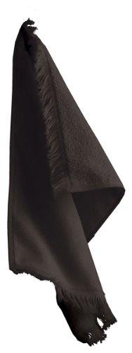 (Towels Plus By Anvil Vil Fringed Fingertip Towel, Black, One Size)