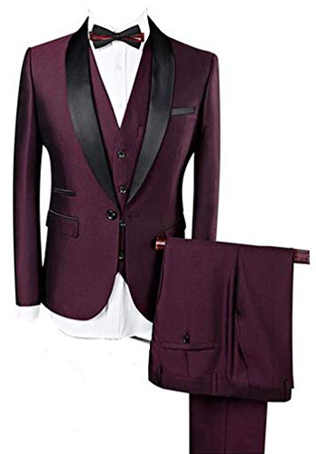 (Botong Burgundy Shawl Lapel Men Suits 3 Pieces Wedding Suits for Men Groom Tuxedos Burgundy 48 Chest / 42 Waist)