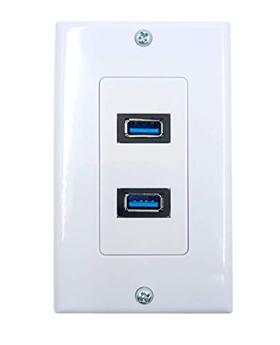 (4.2A USB 3.0 Receptacle Outlets Wall Plates Panel, Haokiang 2 High Speed USB 3.0 Charging Dual Female Port Wall Plates Included, Size 115 MM x 70)