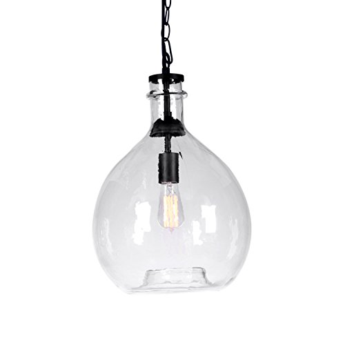 CASAMOTION Wavy Vintage Industrial Hand Blown Glass Pendant Light, 1 hanging Light, 13 Inch, Clear