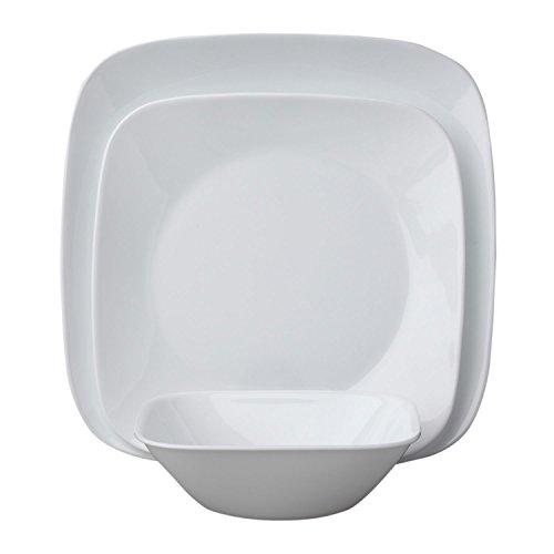 Corelle Square Pure White 12-Piece Dinnerware Set, Service f