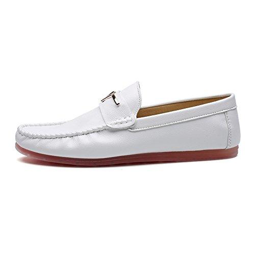 Bianco Mocassini Uomo Da Slip Flats Barca Shelaidon Scarpe On 4qAHq8