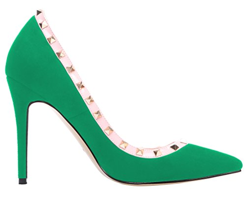 AOOAR Womens Studded High Heel Slip On Pointy Pumps Green Suede qhnJ3i