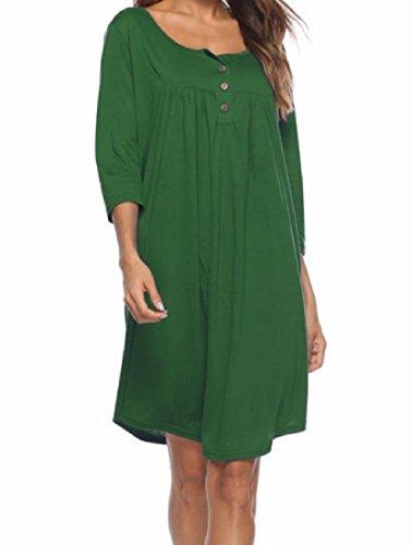 Button Swing Coolred Sleeve Loose 3 Women Winter Dress Green Length 4 Fall Knee gqAUpnq