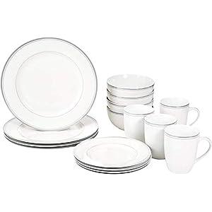 Amazon Basics 16-Piece Cafe Stripe Kitchen Dinnerware Set, Plates, Bowls, Mugs, Service for 4, Grey