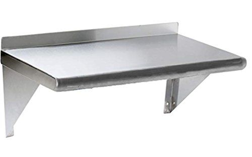 Stainless Steel Wall Mount Shelf 12 x 30 - NSF - Heavy Duty by L and J