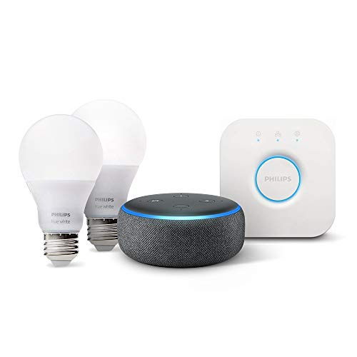 Echo Dot (3rd Gen) - Charcoal with Philips Hue White Smart Light Bulb Starter Kit (All US Residents)