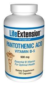 Acide pantothénique (vitamine B5), 500 mg, 100 capsules