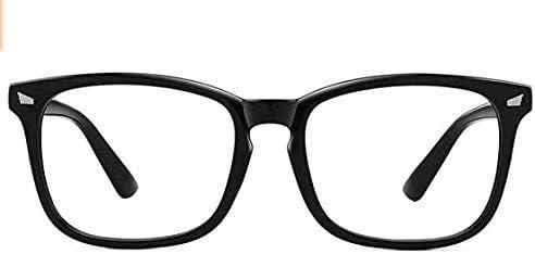 Blue Light Blocking Glasses Computer Gaming Eyewear Square Eyeglasses Frame for Women Men, Anti Eye Strain Reading Gaming Non Prescription (Black)