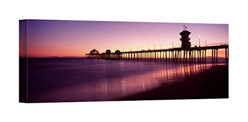 (Easy Art Prints Panoramic Images's 'Pier in The sea, Huntington Beach Pier, Orange County, California' Canvas Art 36 x 12 )