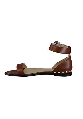 Hugo Boss Sandale Sandal-S Leder Nieten Mittelbraun
