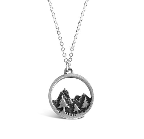 "Rosa Vila Forest Necklace, Tree and Mountain Jewelry for Women, Outdoor Enthusiast Gifts, For Birthdays, Holidays, and More 19"" Chain - Forest Jewelry"