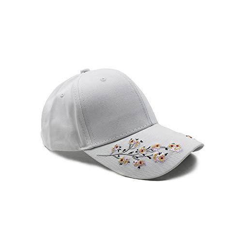 bb-5] Hip Hop Women Flower Hat Female Baseball Cap Summer Floral Caps,White