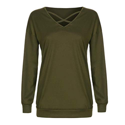 URIBAKE Women's Casual Solid Bandage Long Sleeve Outwear Ladies' Top Blouse Sweatshirt Green