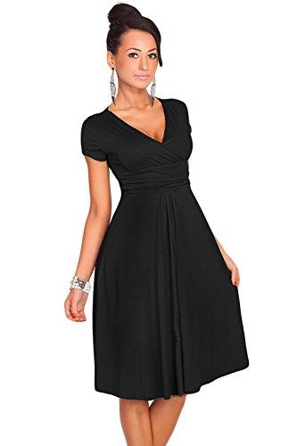 Babyonlinedress Women's Summer Sexy Solid Color V-Neck Short Sleeves Dress(Black,L)