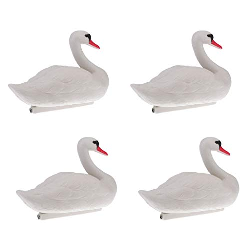 (DYNWAVE 4Pcs Artificial Swan Decoy Pond Decoration Floating Ornamental Bird Garden Yard Scarecrow)