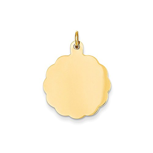 (Jewelry Best Seller 14k .011 Gauge Engravable Scalloped Disc Charm)
