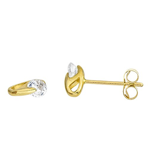 (14K Yellow Gold Round Cubic Zirconia Tension-Mount Set Stud Earrings (Push Back))