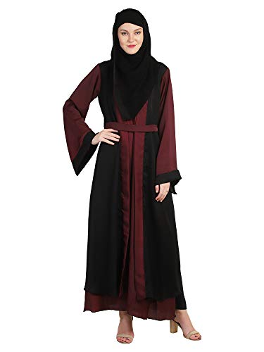 ABAYA 4EVER Women's Latest Nida Febric Abaya Burkha with Stoal.in pink +black colour