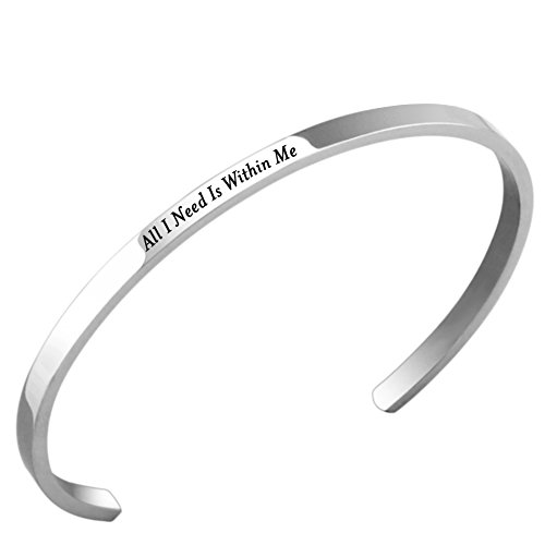 Lademayh All I Need Is Within Me Engraved Cuff Bracelet for Women Adjustable Stainless Steel Inspired Bracelet