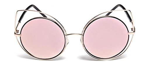 GAMT Personality Round Hollow Cateye Sunglasses Metal Frame Eyewear for Men and Women - Sunglasses Pink Beckham Victoria