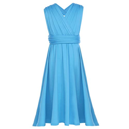 Little Big Girl Convertible Multi Way Wrap Bandage Dress Transformer Junior Bridesmaid Pageant Party Evening Short Gown Blue 7-8 Years]()