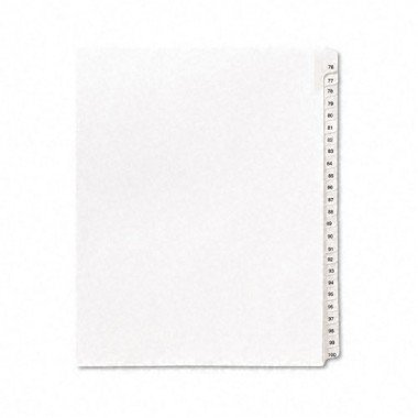 Avery 01704 Collated Dividers, 76-100, Side Tab, 11