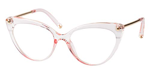 SOOLALA Ladies Oversized Cat Eye Reading Glass Modern Eyeglass Frame, Pink, ()