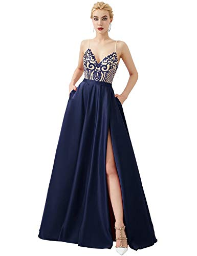 V-Neck Sequin Prom Dresses with Pockets Spaghetti Strap A-line Formal Dresses with Slit(Navy,4) ()