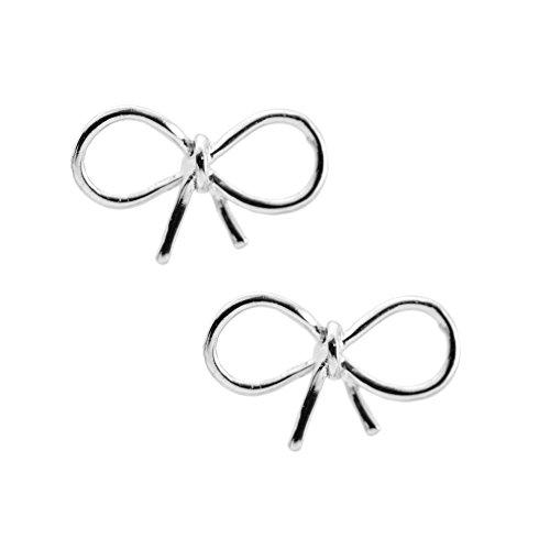 Spinningdaisy Handmade High Gloss Tiny Bow Earrings Silver