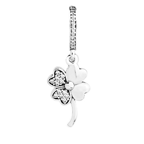 CKK Good Luck Four Leaf Clover Dangle Charm 925 Sterling Silver Petals of Love Beads Fits Pandora Bracelet Necklace Jewelry Making Gift for Ladies Men