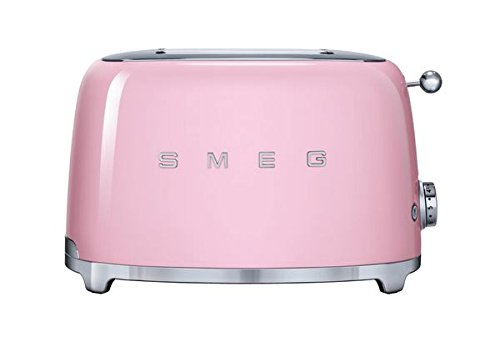 Smeg TSF01PKUS 50's Retro Style Aesthetic 2 Slice Toaster, Pink For Sale