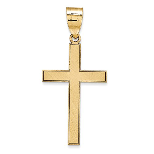 14k Engraveable Cross Pendant (Roy Rose Jewelry 14K Yellow Gold Cross Pendant 25mm total length including bail ~ 1 inch)