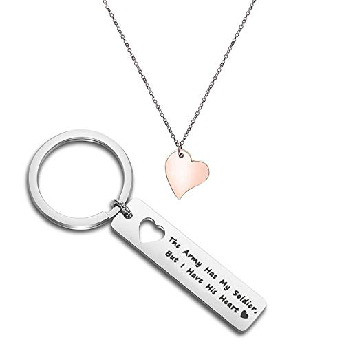 FOTOP The Army Has My Soldier But I Have His Heart Keychain Necklace Set Gift for Army Wife, Girlfriend (army set) (Army National Guard Jewelry)
