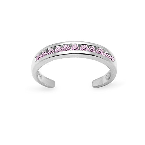Zirconia Pink Cubic Ring - Sterling Silver Channel Light Pink Cubic Zirconia CZ Sparkling Toe Adjustable Ring