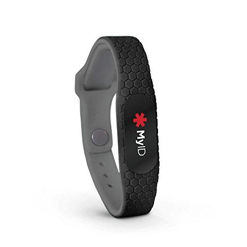 MyID Hive Medical ID- Black Pod, Sport ID, Child ID, Emergency ID, Diabetes Wristband, (Black S/M)
