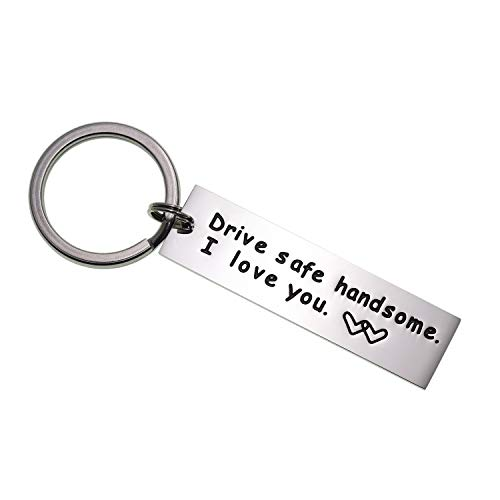 LParkin Drive Safe Keychain Handsome I Love You Trucker Husband Gift for Husband dad Gift Valentines Day Stocking Stuffer (Keychain)