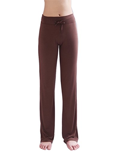 Hoerev Women's Soft Modal Slimming Lounge Pants Yoga Pants Pajama Pant Coffee