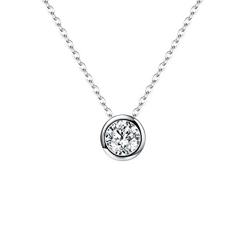 EVER FAITH 925 Sterling Silver 7MM Round Cubic Zirconia Bezel Setting Solitaire Pendant Necklace Clear (Solitaire Pendant Setting)