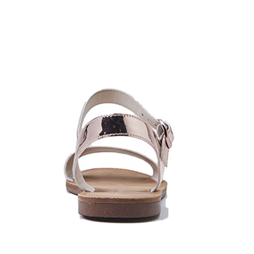 Windsor Smith Sandalo Donna, Bondi/Rosegold Mirror, con Una Fascia, Colore Rosa/Oro Fondo Colore Cuoio, Nuova Collezione Primavera Estate 2018
