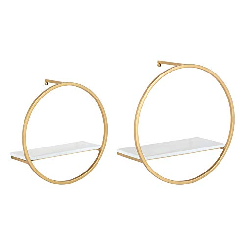 Kate and Laurel Wicks Modern Glam Floating Wall Shelf Set of 2 | Round Gold Metal Frame with White Painted Solid Wood Shelf Boards ()
