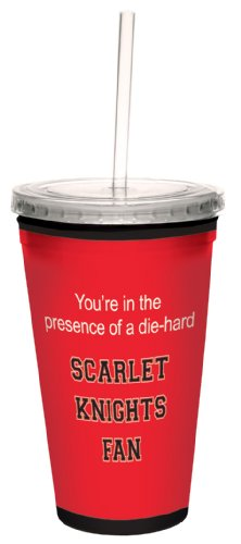 Tree-Free Greetings cc34543 Scarlet Knights College Football Fan Artful Traveler Double-Walled Cool Cup with Reusable Straw, 16-Ounce
