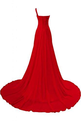 Ein Linie Schulter Bride Festkleid Rot Schleppe A Lang Gorgeous Ballkleid Chiffon Elegant Abendkleid OEqRZqWX