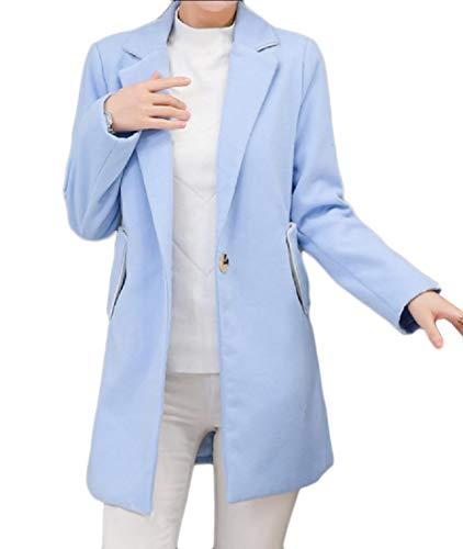 Un Cappotto Lana Medio lungo Fitness Turn Pulsante Blu down Collare Di Mogogowomen Di xPwqF0pfqz
